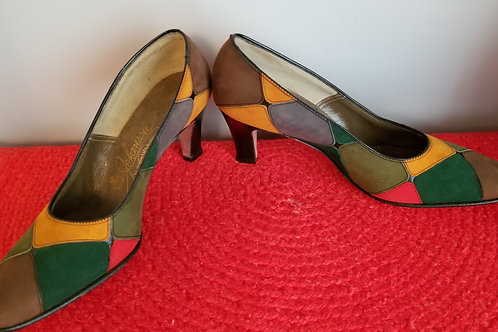 60's Johansen Patchwork Leather Pumps 8.5 B/AA