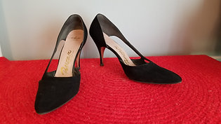 50s Palizzio Stilettos in Black Suede - 6.5AAA