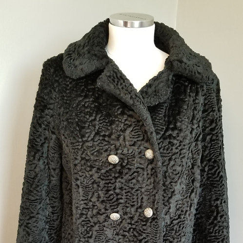 70s Black Faux Curly Lamb Double  Car Coat - M