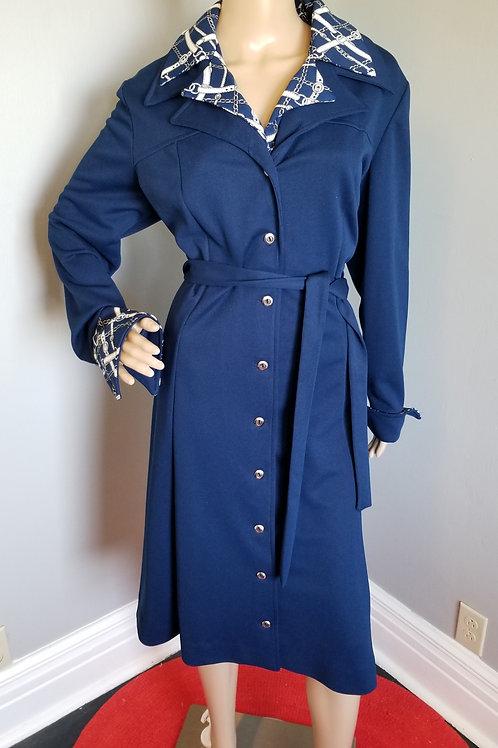 70s Lady Carol Navy Trench Coat Dress - XXL