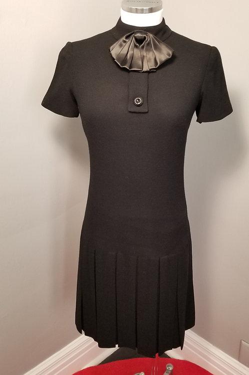 80s Black Claret wool blend drop waist dress - XS / S