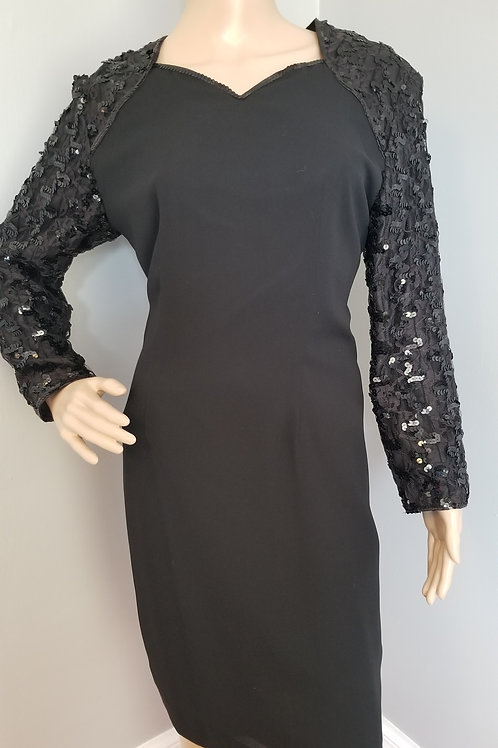 70's Super Cute Sheath LBD. Sequins and Lace Sleeves - M