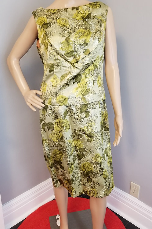 50's Mardi Gras Silk Dress in Greens and Silver - M
