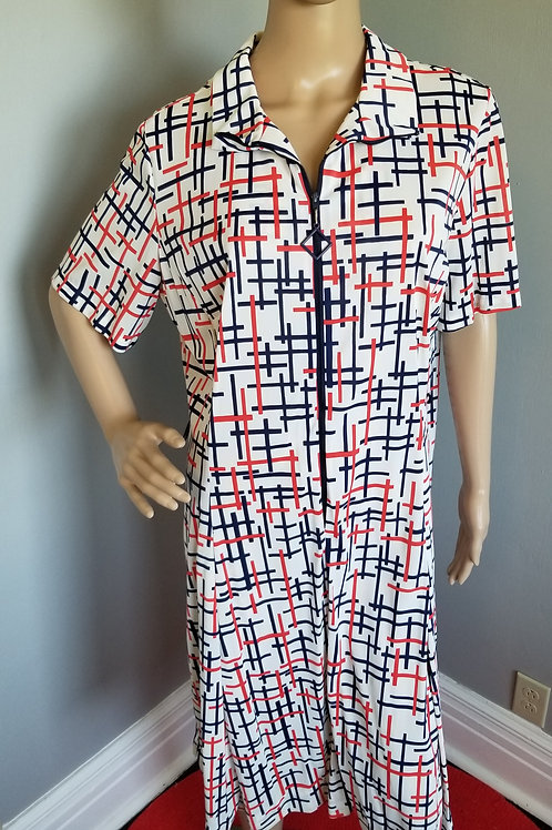 70's Casualmaker A-Line Dress by Sy Frankl in Red, White and Blue - XXL