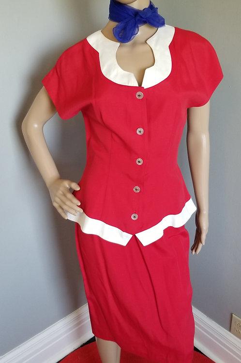 70's CRÈ CHE 2 Piece Red & White Outfit. - XS