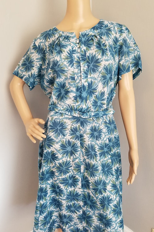 50's Blue, Green & White Floral  Cotton Blend Dress - XL