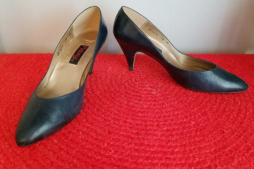 80s Proxy Pumps in Navy Blue Leather -7.5M