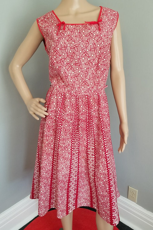 40's/50's Square Neck, Red & White Sleeveless Dress - M/L