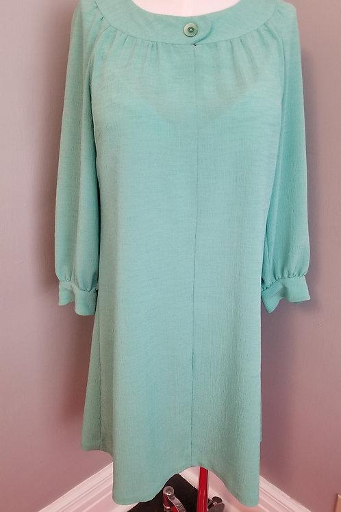 60s Long Sleeve Mint Green Shift Dress - M / L