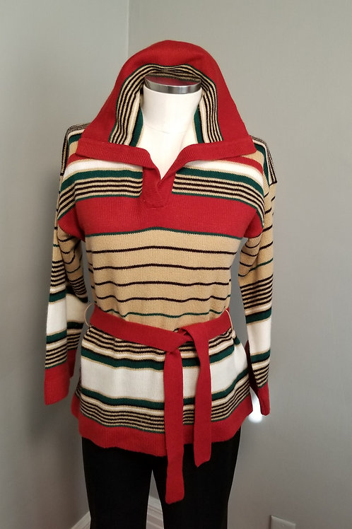 70s Sweater with Bell Sleeves and Belt - M