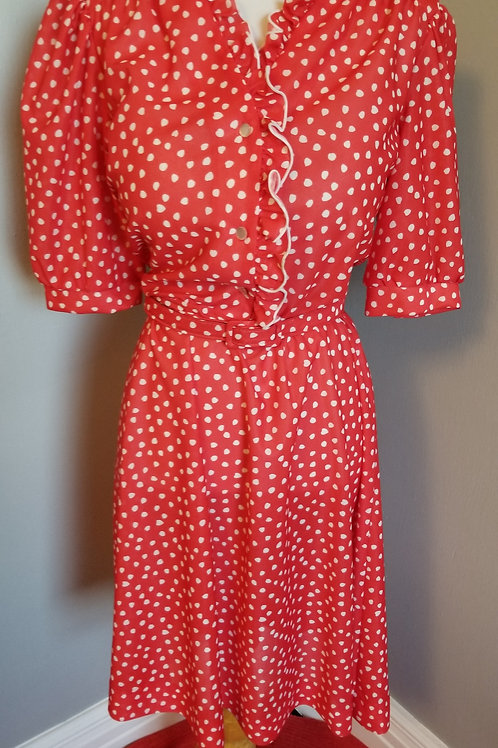 70's Rockabilly Red and White, Heart / Polka Dot Dress by Blair - M