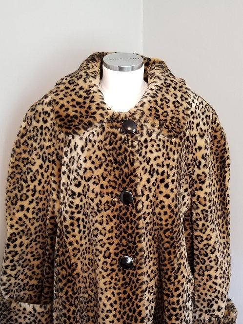 80s Leopard Faux Fur HUGE Buttons - XXXL