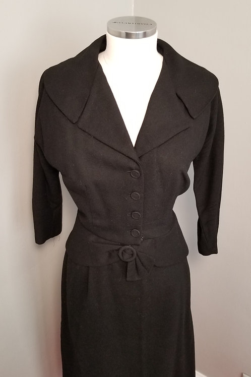 40s Black Wool Suit with Nipped Waist - L