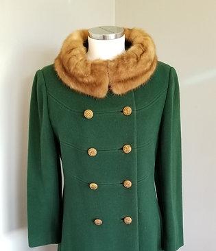 60s Midbrooke Hunter Green Coat with Mink Collar - M