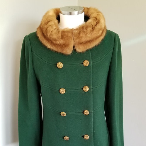 60s Midbrooke Hunter Green Coat with Mink Collar - M