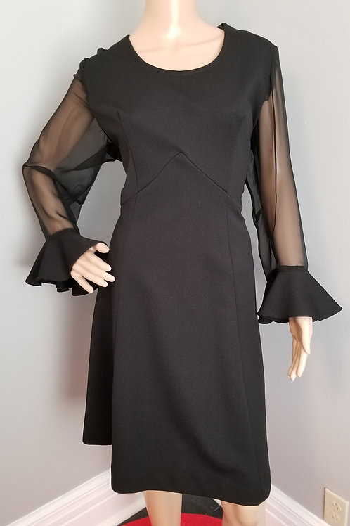 60's LBD with Sheer Sleeves and Ruffle Cuff - M/L