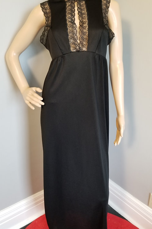 70's Van Raalte Black Column Gown - S
