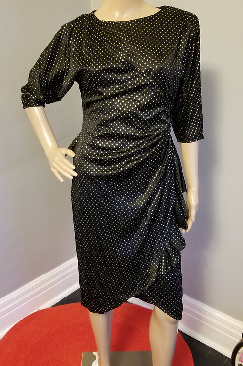 70's Joni Blair of California Black & Gold Wrap Dress - S