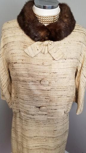 50s Slub Silk Lilli Ann Suit With Mink Collar - XS