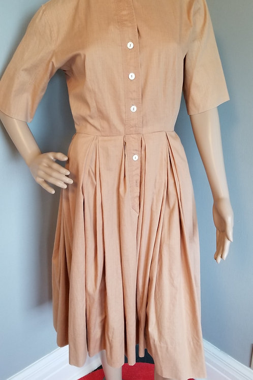 50's Homemade Day / house dress in Tan - S