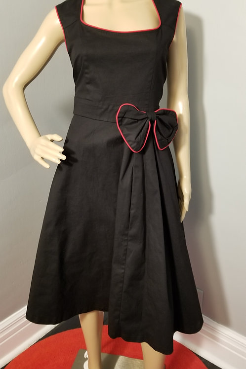 Vintage Inspired Lindy Bop Black Fit-n-Flare Dress with Red detail - 2XL