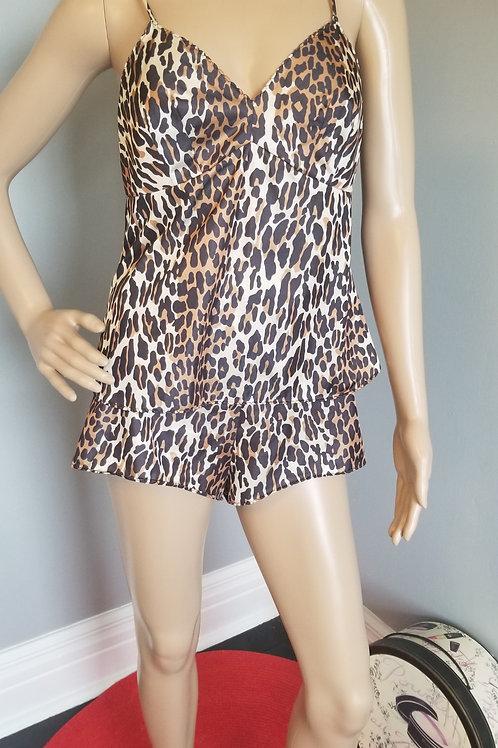 60's Vanity Fair Classic Leopard Print Cami andShorts - M