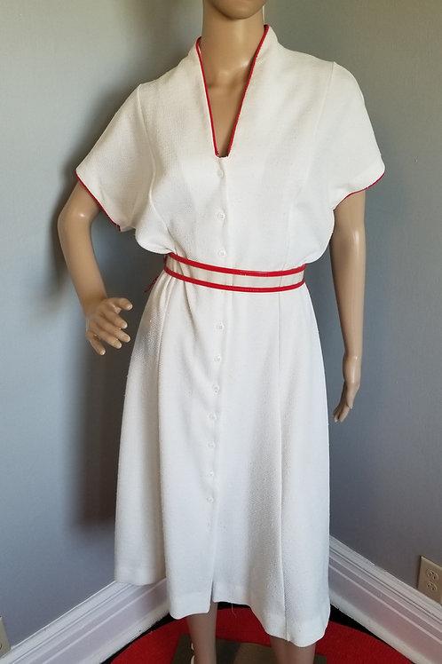 70's White R&K Originals Dress with Red Trim - L