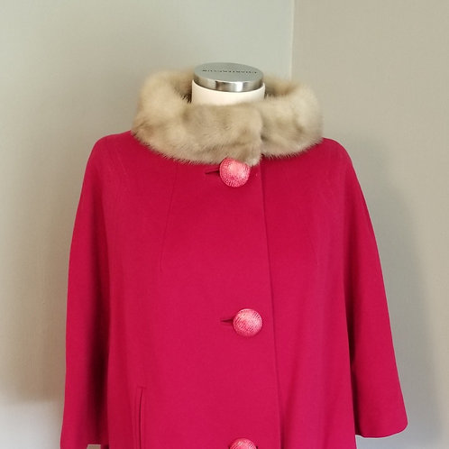 60s  Raspberry Wool Blend Cropped Swing Coat with Mink Collar - M