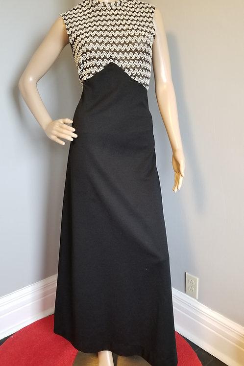 70's Evening Wear Maxi Dress - M