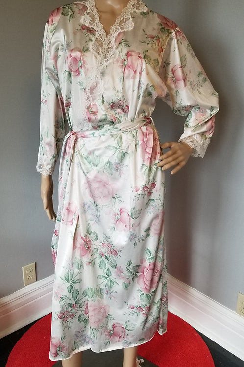80's Lorraine Peignoir, Shabby Chic White and Roses - M