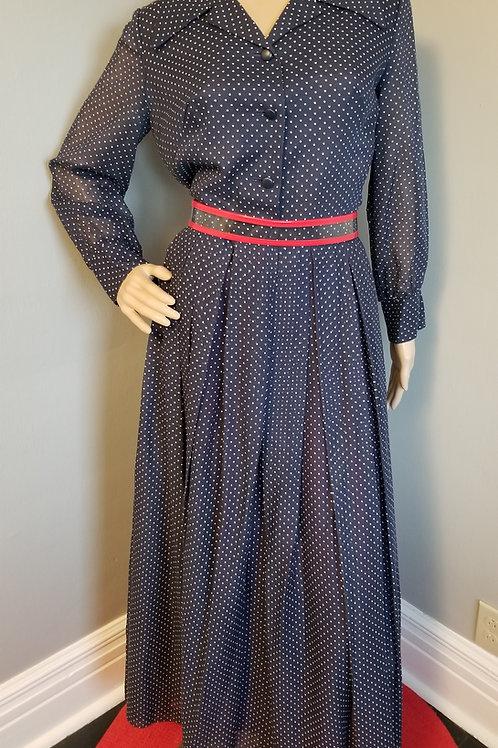 70's Navy and White Polka-Dot Maxi Dress - S/M