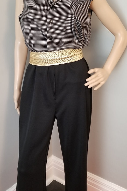 70's Black and White Polka-dot Jumpsuit - L