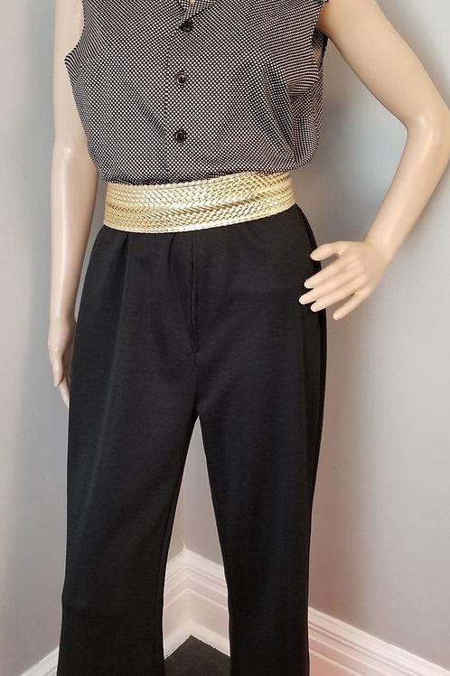 70's Black and White Polka-dot Jumpsuit - L