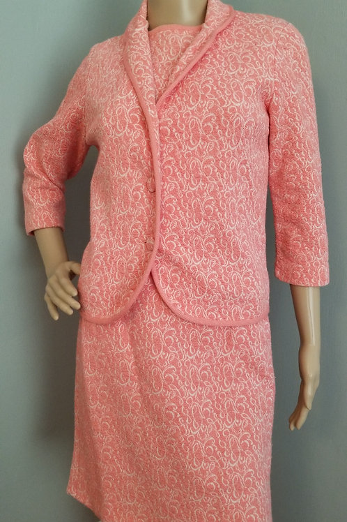 60's Pink Knit  3 Piece Outfit - XS