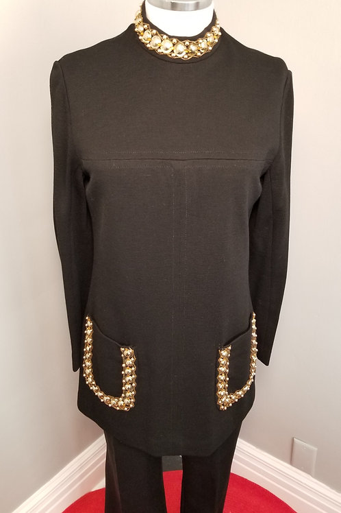 60s Gia Ninno Black Wool Tunic with Gold Bead Work - M