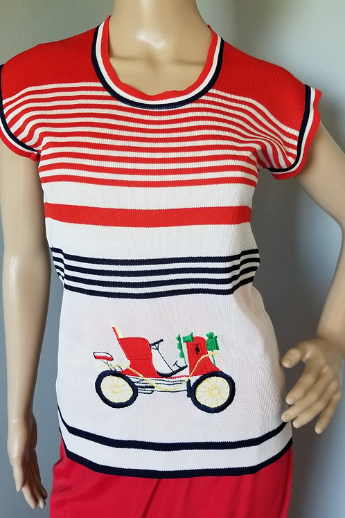 70's JOYCE Red, White & Blue Top Embroidered - S