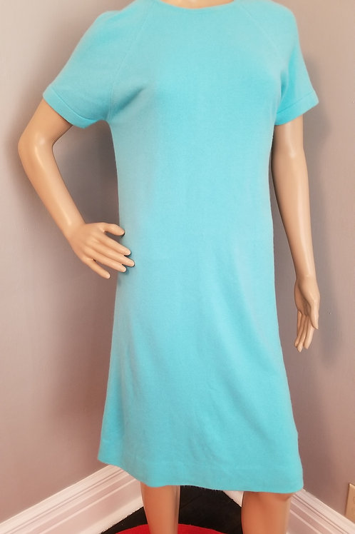 60's Robin Egg Blue Shift Sweater Dress -  M/L