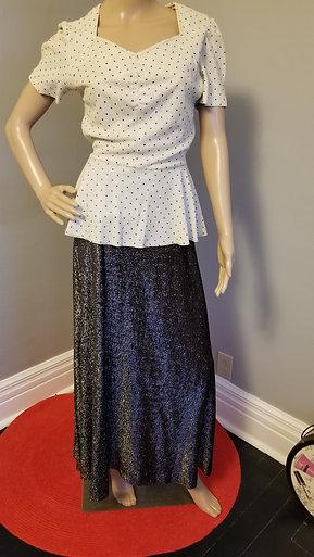 70's Dressy Peplum, Black, White & Silver Maxi - S