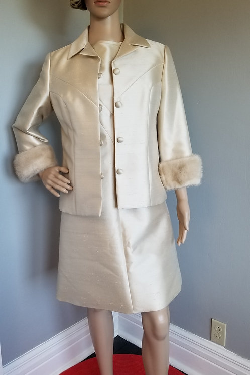 60's Champagne Dress and Jacket with Fur Trim - M