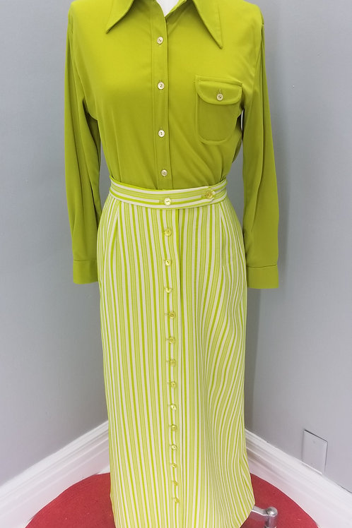 70s Dark Chartreuse Blouse and Maxi Skirt - S