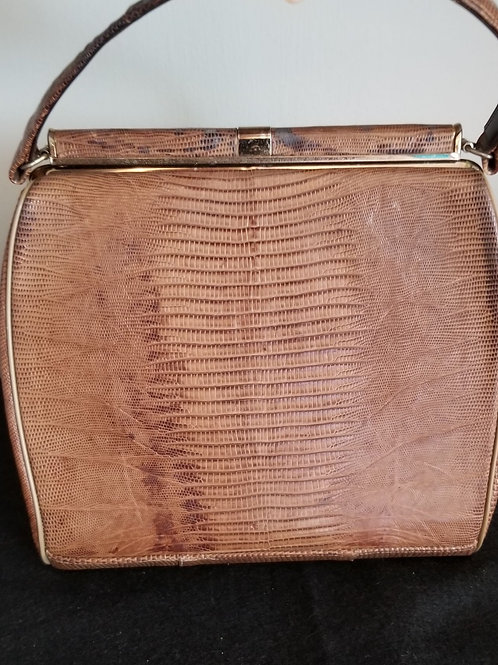 60's Reptile Leather Purse with brass hardware