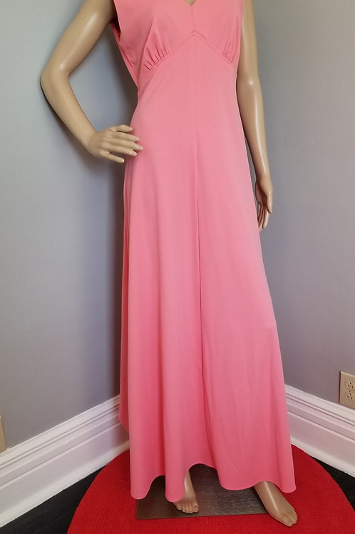 70's Super Cute Salmon Empire Waist Maxi Dress - M