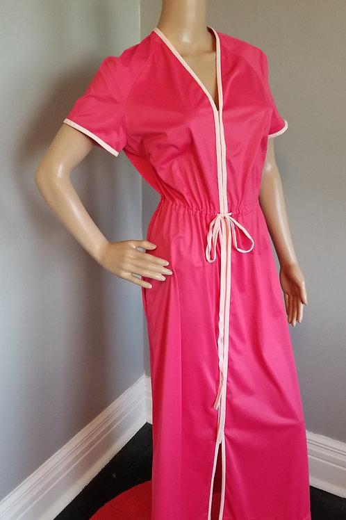 60's Vanity Fair Nylon Hot Pink Robe -S