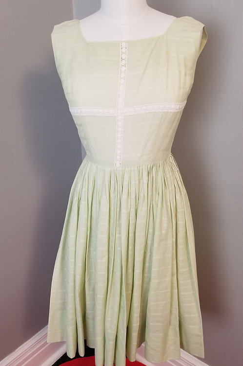 50's Sweet Pastel Green Spring Frock - XS