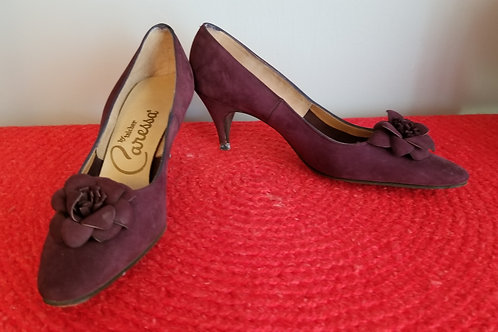 60s Caressa Pumps in Eggplant Suede -7AAA