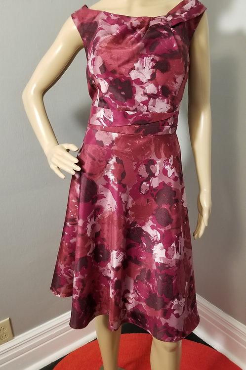 Vintage Inspired David's Bridal, Watercolor Floral Fit-n-Flare Dress - XL