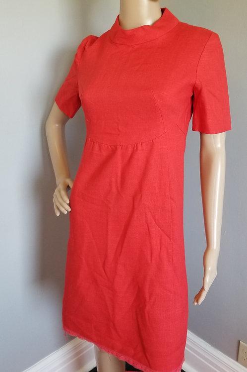 50s Red Linen Tailored Shelf Bust Sheath Dress