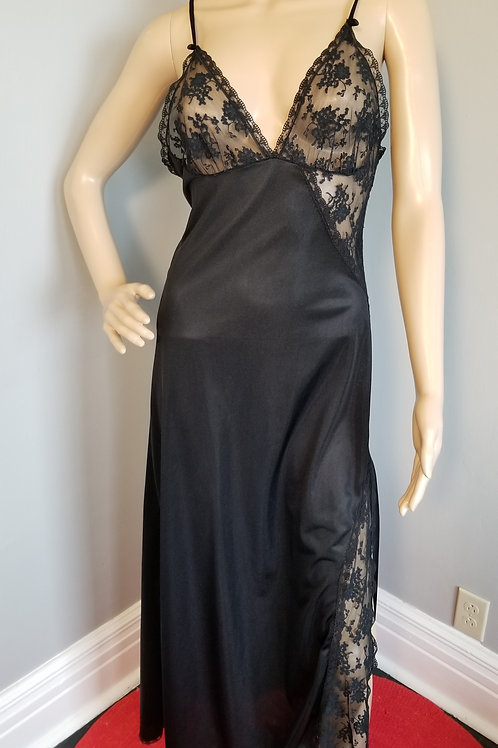 70's Lady Cameo of Dallas Black Column Gown - S/M