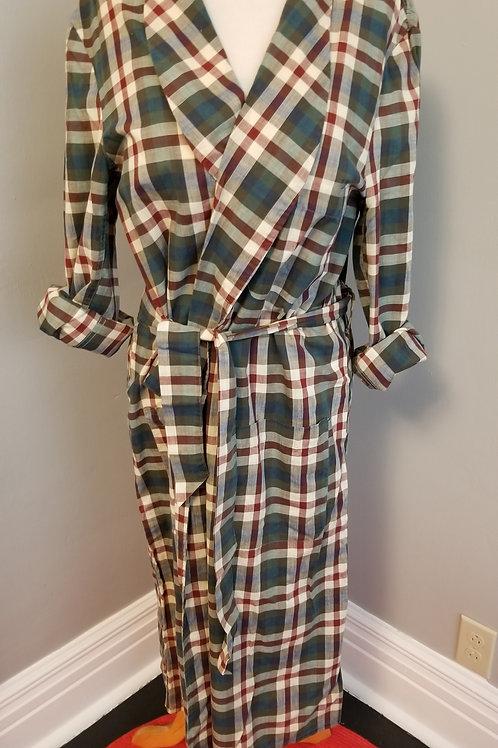 60's Men's Travelair Summer Cotton Plaid Robe - M