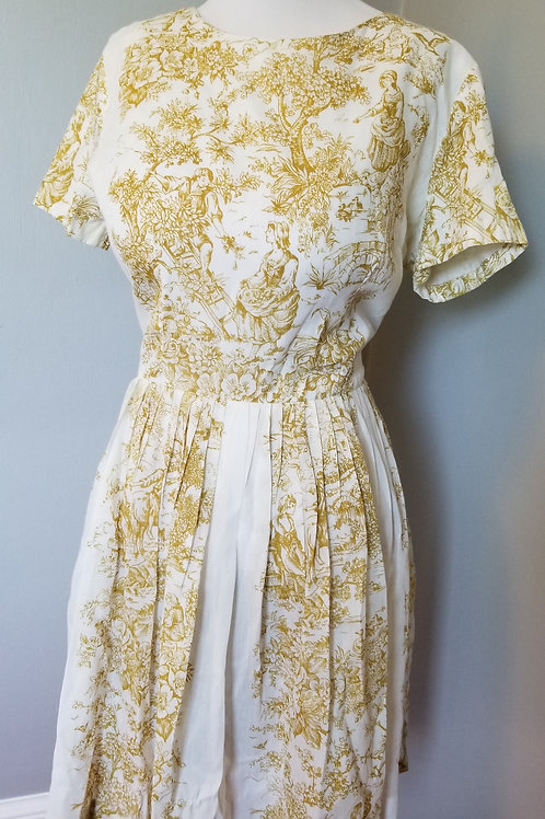 50s Toile Sheer Cotton Dress - S/M